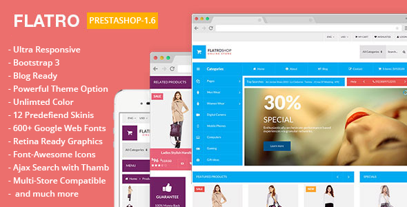 Flatro - Metro Inspired flat PrestaShop Template  - Shopping PrestaShop